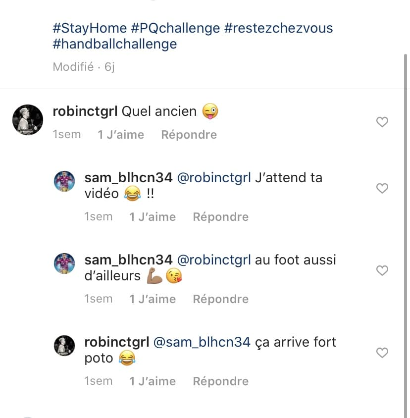 Discussion entre Cantegrel et Bellahcene sur Instagram